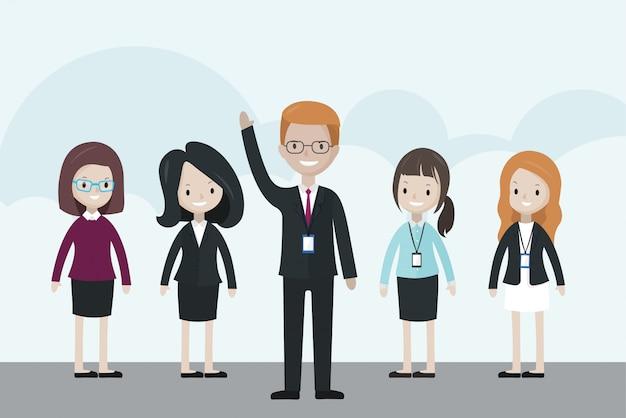 Empresário dos desenhos animados em pé na frente do grupo, levantando a mão Vetor Premium