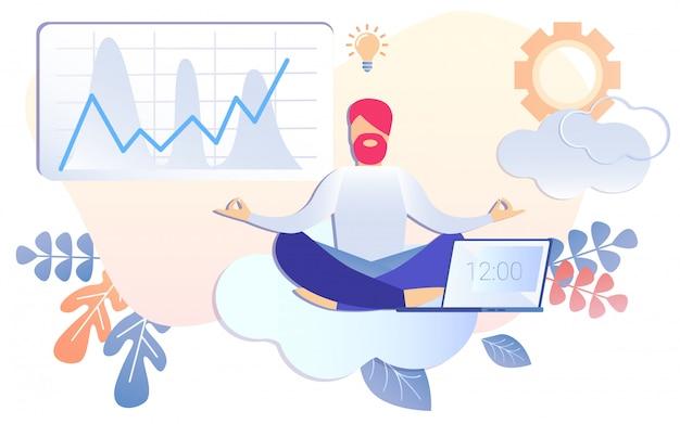 Empresário dos desenhos animados, meditando pausa de trabalho ao meio-dia Vetor Premium