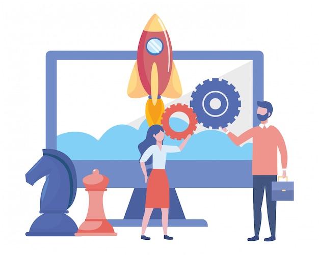 Empresário e empresária design ilustração vetorial Vetor Premium
