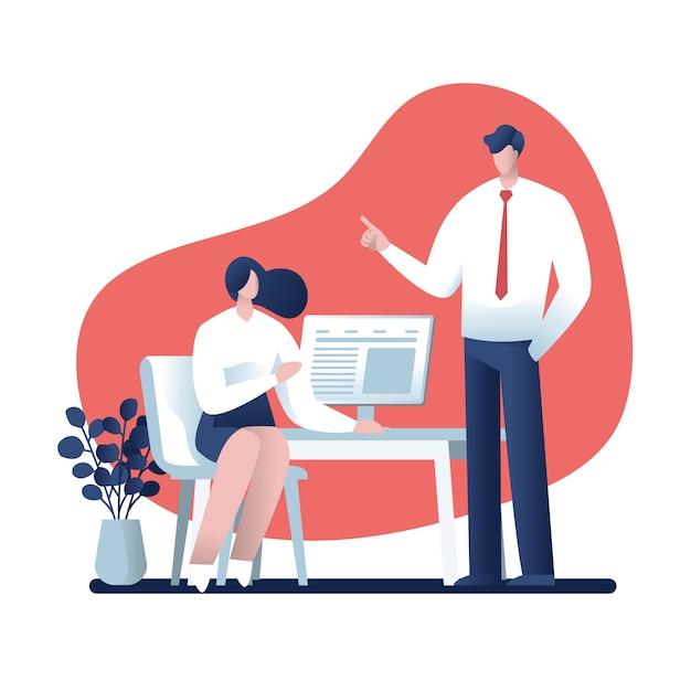 Empresário e empresária falando sobre o trabalho no escritório, design de personagens, negócios on-line Vetor Premium