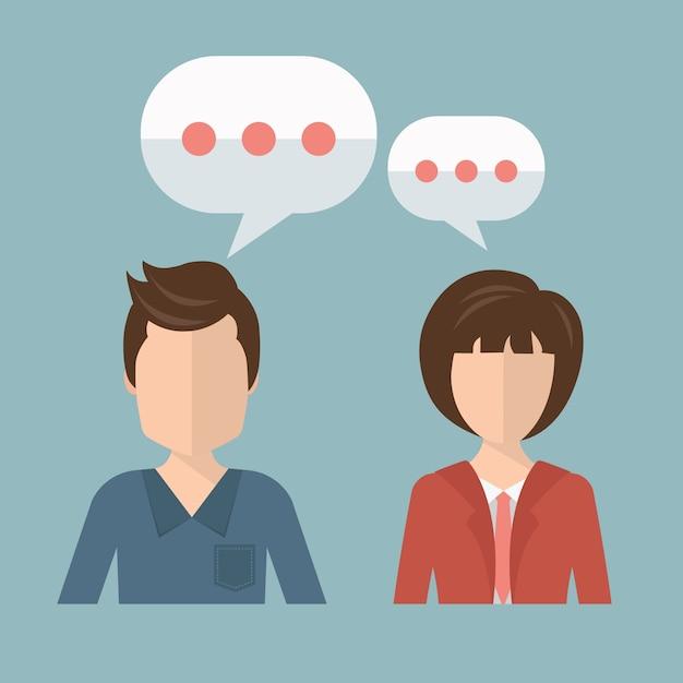 Empresário e empresária falando Vetor grátis