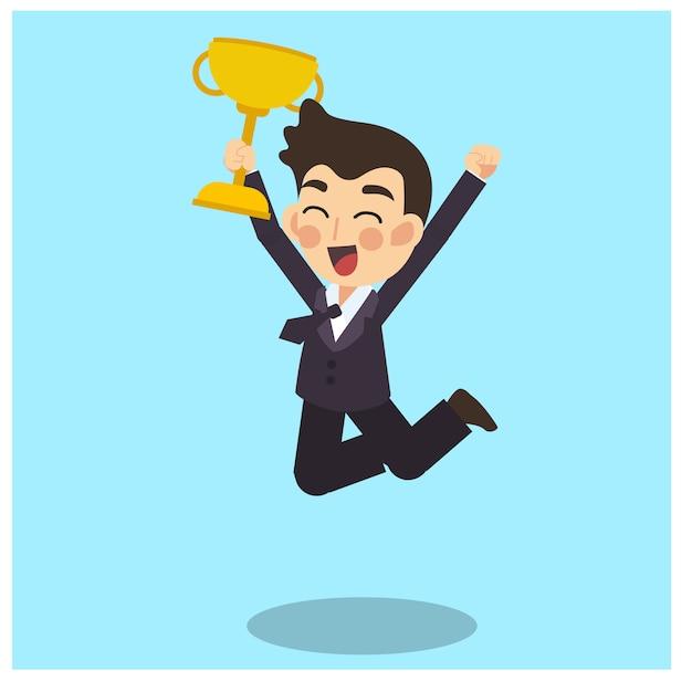 Empresário é feliz e pulando com o troféu vencedor de ouro na mão. vetor de personagem de desenho animado do conceito de negócio. Vetor Premium