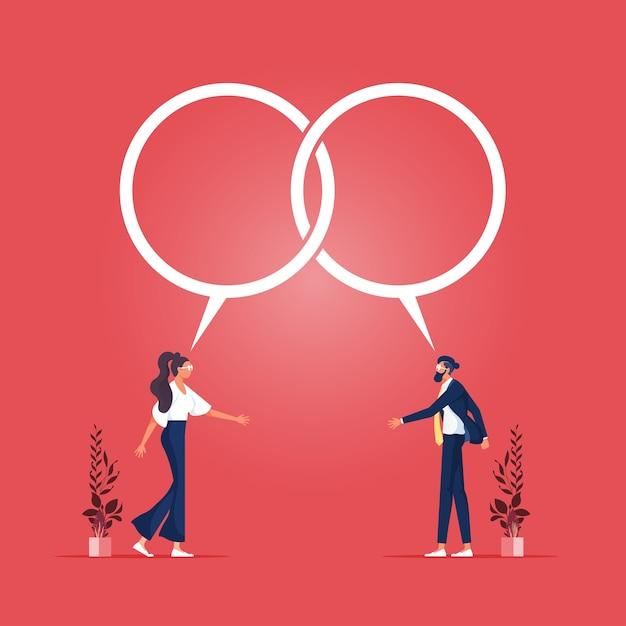 Empresário e mulher conversam e chegam a um acordo com balões de diálogo Vetor Premium