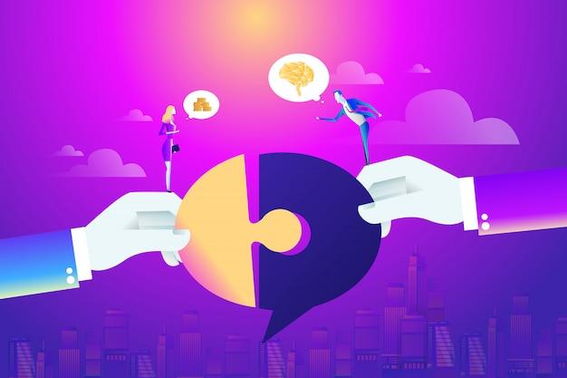 Empresário e mulher parceiro conectando o quebra-cabeça Vetor Premium