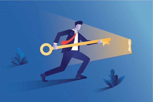 Empresário é uma grande chave para o crescimento ou lucro de uma empresa Vetor Premium