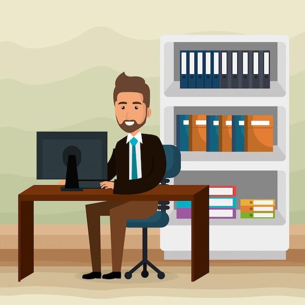 Empresário elegante na cena do escritório Vetor grátis