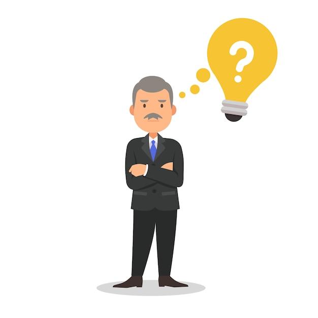 Empresário em um terno pensando ilustração dos desenhos animados Vetor Premium