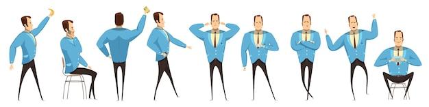 Empresário em várias poses definido Vetor grátis