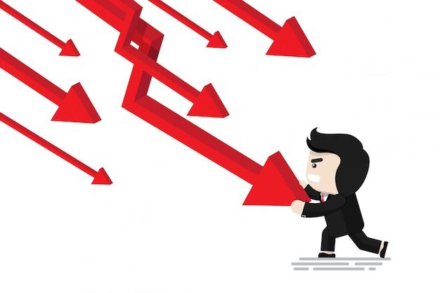 Empresário, empurrando a seta para parar de cair gráfico de seta, personagem de design flat, elemento de ilustração, conceito financeiro Vetor Premium