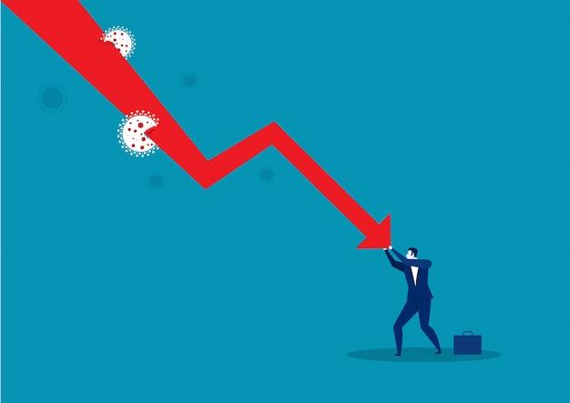 Empresário, empurrando o gráfico caindo para baixo. coronavírus de situação Vetor Premium