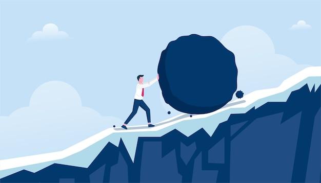 Empresário empurrando pedra pesada ilustração colina acima Vetor Premium
