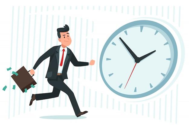 Empresário encontrar idéia. trabalhador de negócios confuso se pergunta e encontra solução ou problema resolvido cartoon ilustração vetorial Vetor Premium