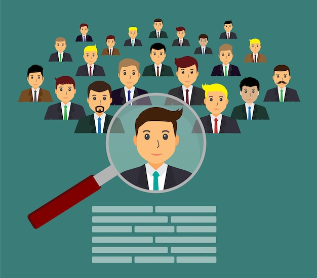 Empresário encontrar um emprego Vetor Premium