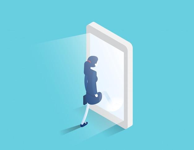 Empresário entra em uma tela brilhante do smartphone. portal e acesso digital Vetor Premium