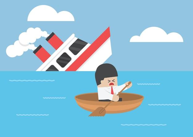 Empresário escapar do naufrágio Vetor Premium