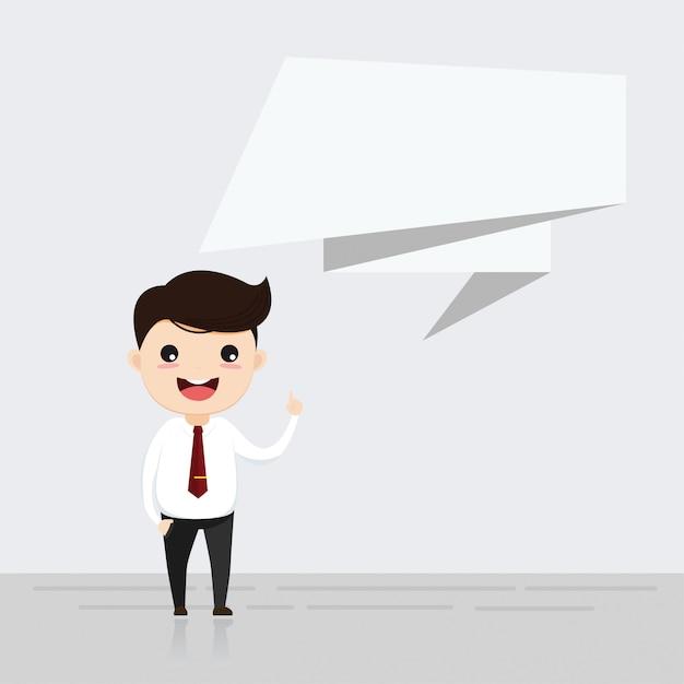 Empresário falando com bolha do discurso. Vetor Premium