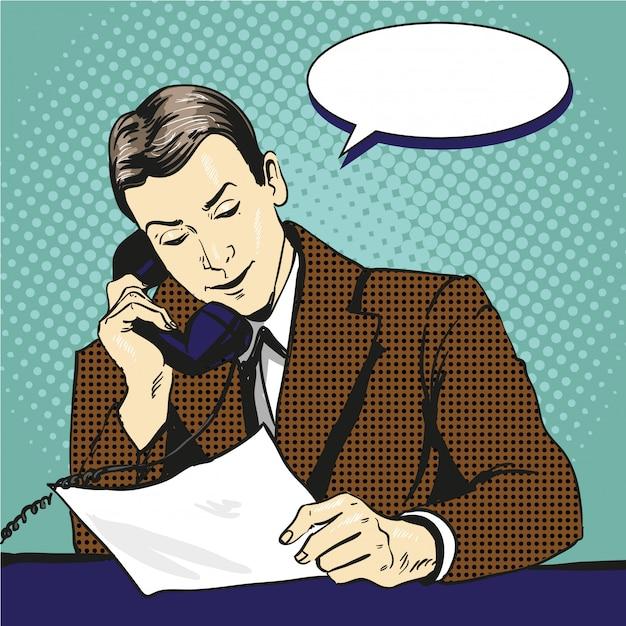 Empresário falando por telefone e lendo documentos. ilustração em quadrinhos estilo retrô pop art Vetor Premium