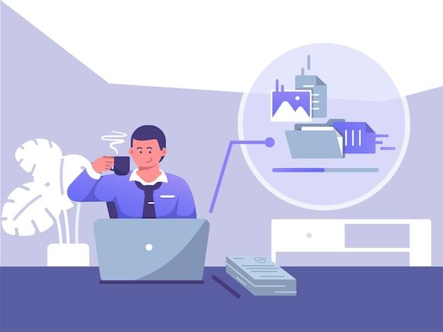 Empresário faz uma pausa para o café enquanto envia arquivos na frente do laptop. pausa para o café da ilustração plana do conceito de trabalho Vetor Premium