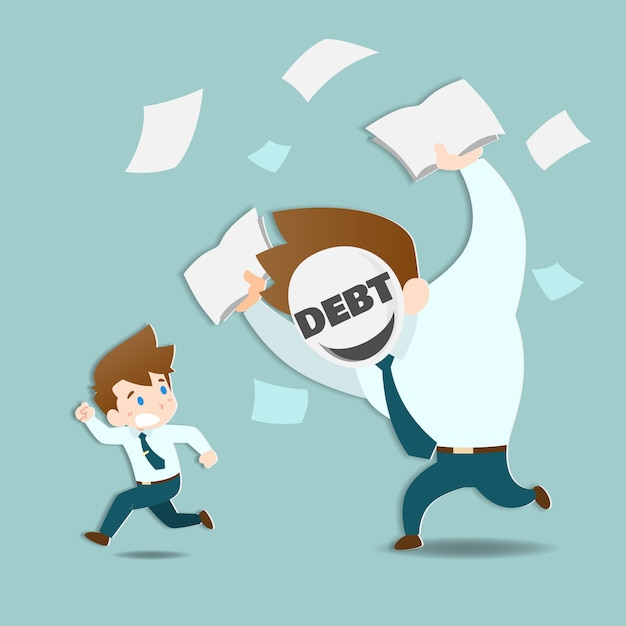 Empresário, fugindo das enormes dívidas. Vetor Premium