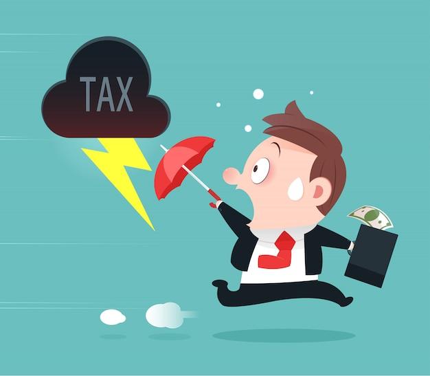 Empresário, fugindo de impostos, prevenção de impostos, desenho de vetor-cartoon e ilustração Vetor Premium