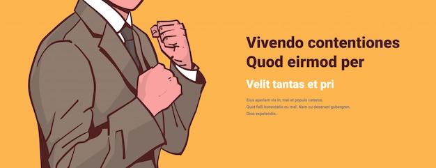Empresário irritado, mostrando os punhos prontos para combater o conflito de desafio de concentração Vetor Premium