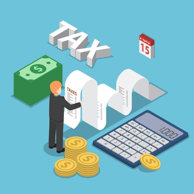 Empresário isométrico calcular documento para impostos com calculadora Vetor Premium