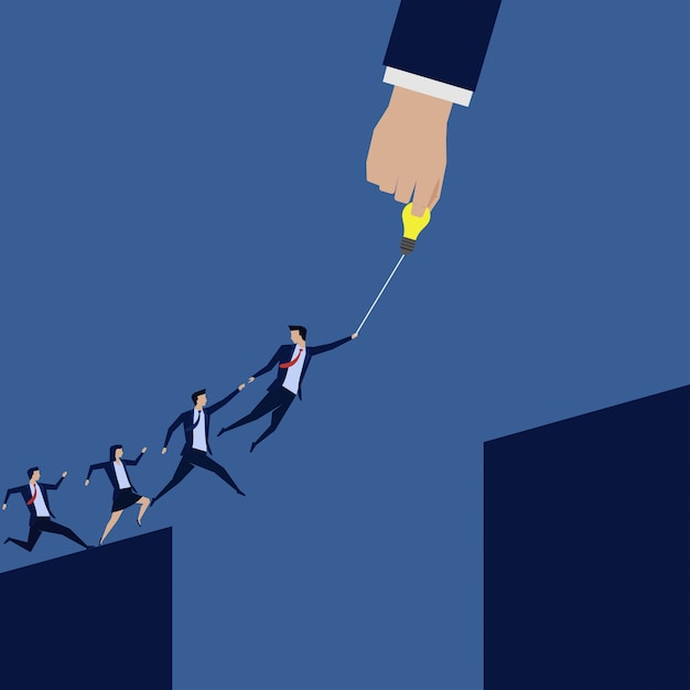 Empresário líder ajudar outro a saltar através do fosso. Vetor Premium