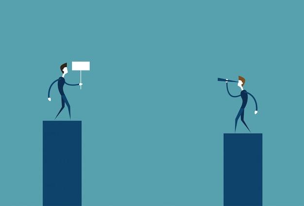 Empresário líder olhando através de binóculo no negócio bem sucedido homem segurando bandeira conceito de concorrência Vetor Premium