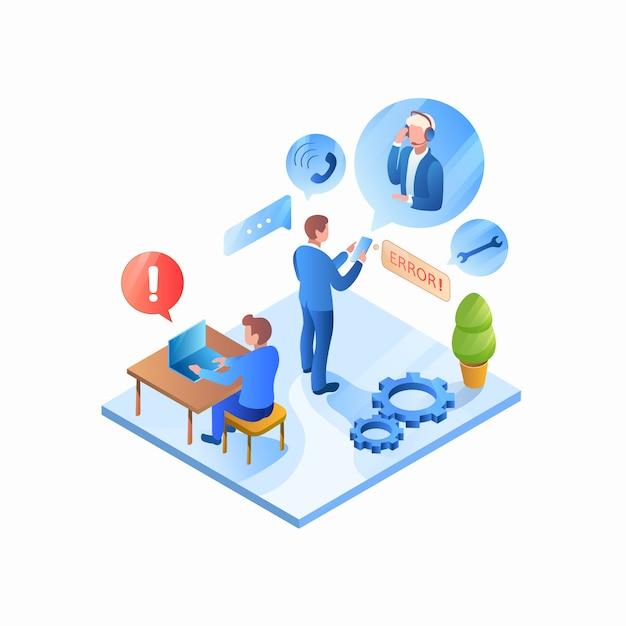 Empresário, ligando para o serviço de suporte para ajuda Vetor Premium