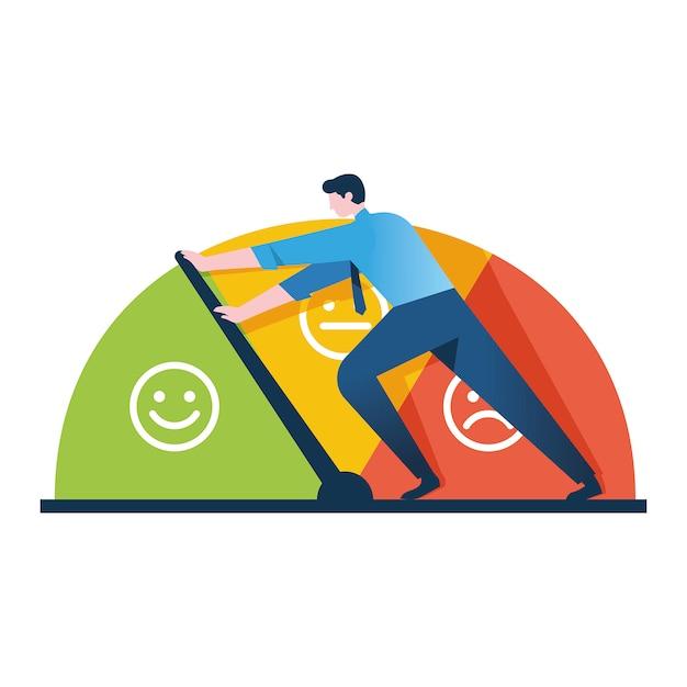Empresário mantém a escala de emoções de se aproximar do estresse Vetor Premium