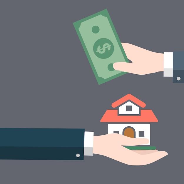 Empresário mão dá lar a outra mão com dinheiro em espécie Vetor Premium