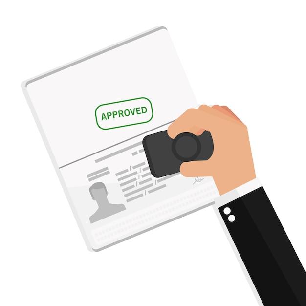 Empresário mão segure viagem documento aprovado Vetor Premium