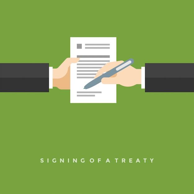 Empresário mãos segurando um contrato e caneta ilustração plana Vetor Premium