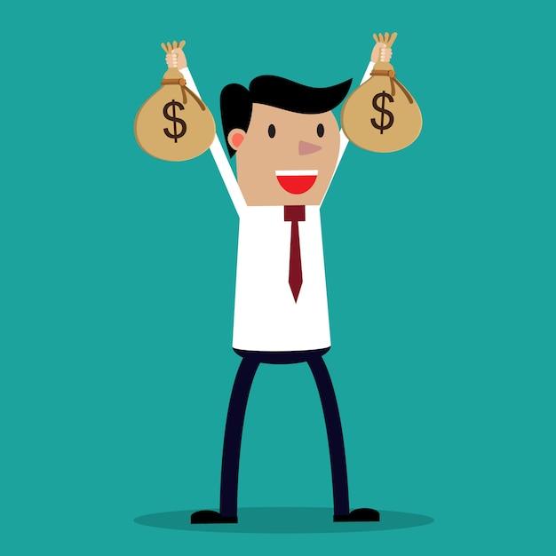 Empresário mãos segurando um saco de dinheiro Vetor Premium