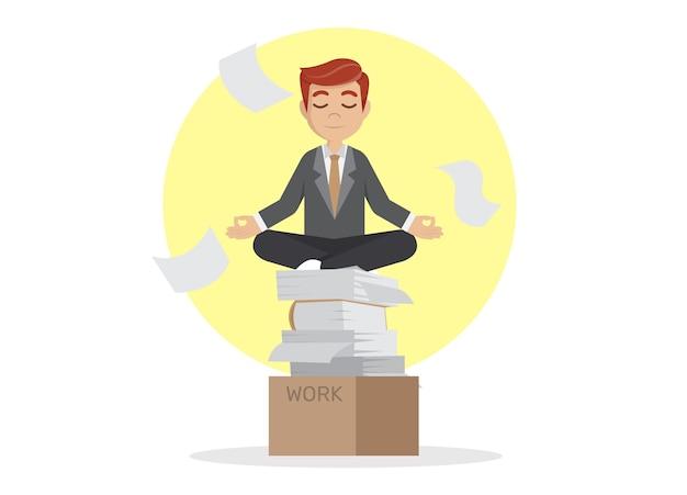 Empresário meditando em paz. Vetor Premium