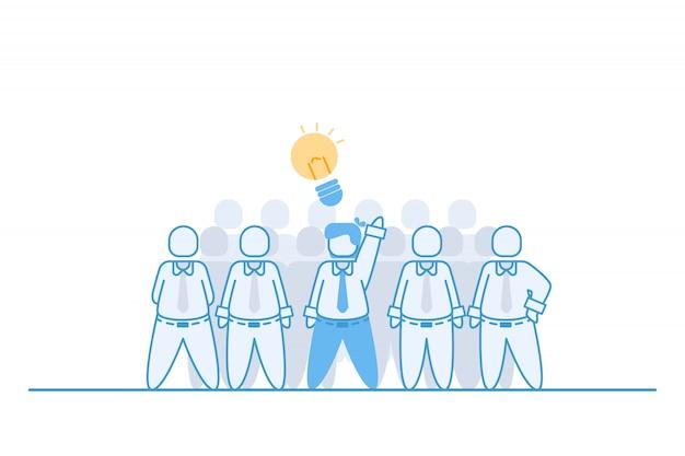 Empresário, mostrando sua ideia Vetor Premium