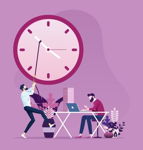 Empresário mova as mãos do relógio para mudar o tempo Vetor Premium