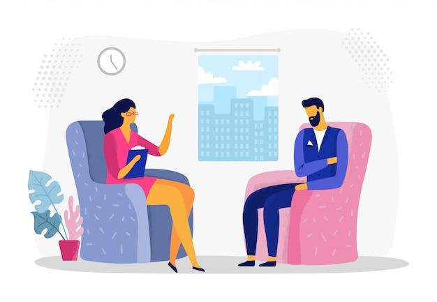 Empresário na sessão de psicoterapia. estresse de trabalhador de negócios, empresários em depressão e ilustração em vetor terapia psicológica Vetor Premium