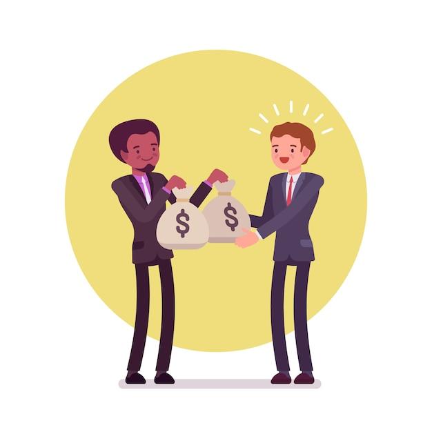 Empresário negro está dando dois sacos de dinheiro para homem branco Vetor Premium