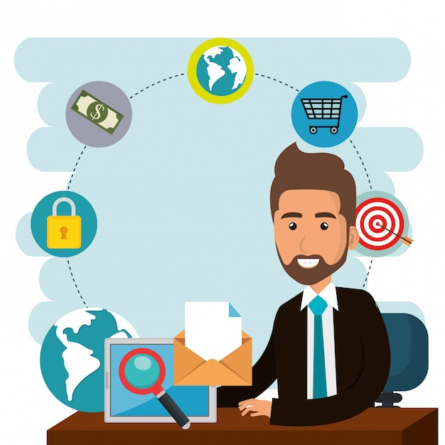 Empresário no escritório com ícones de marketing de e-mail Vetor grátis