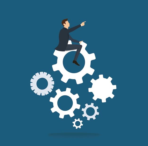 Empresário no ícone de engrenagens Vetor Premium