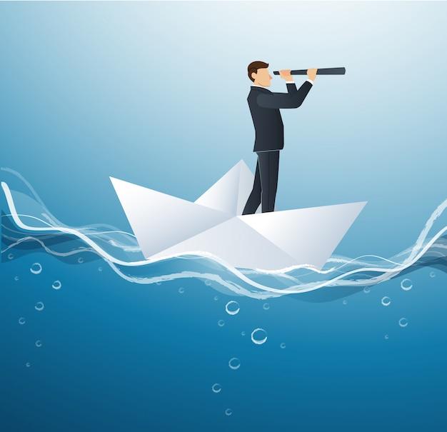 Empresário olha através do telescópio no barco de papel Vetor Premium