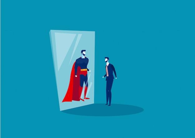 Empresário olha no espelho e vê um super-herói. Vetor Premium