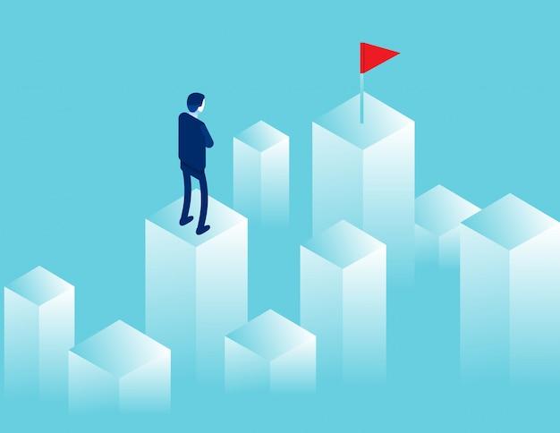 Empresário, olhando para a distância, onde há uma bandeira vermelha. objetivo de caminho Vetor Premium