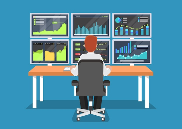 Empresário ou comerciante do mercado de ações, trabalhando na mesa. Vetor Premium