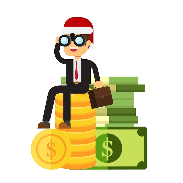 Empresário ou gestor no chapéu de natal está sentado sobre uma grande pilha de dinheiro. Vetor Premium