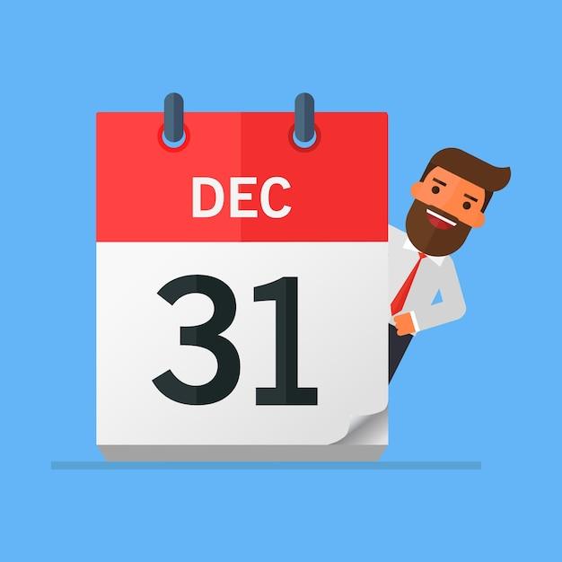 Empresário ou gestor segurar um calendário na mão Vetor Premium
