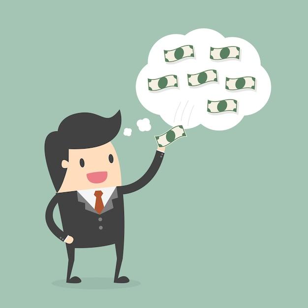 Empresário pensando em dinheiro Vetor grátis
