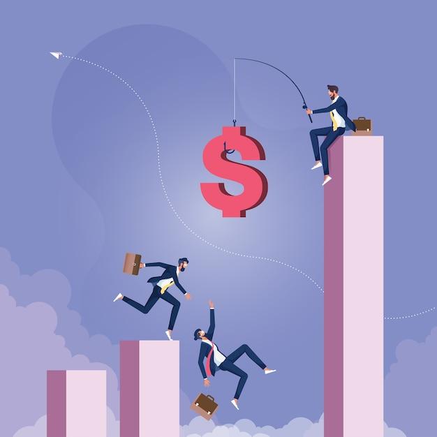 Empresário pescando dinheiro de cima do gráfico e executivos correndo atrás de moeda de dinheiro com anzol Vetor Premium