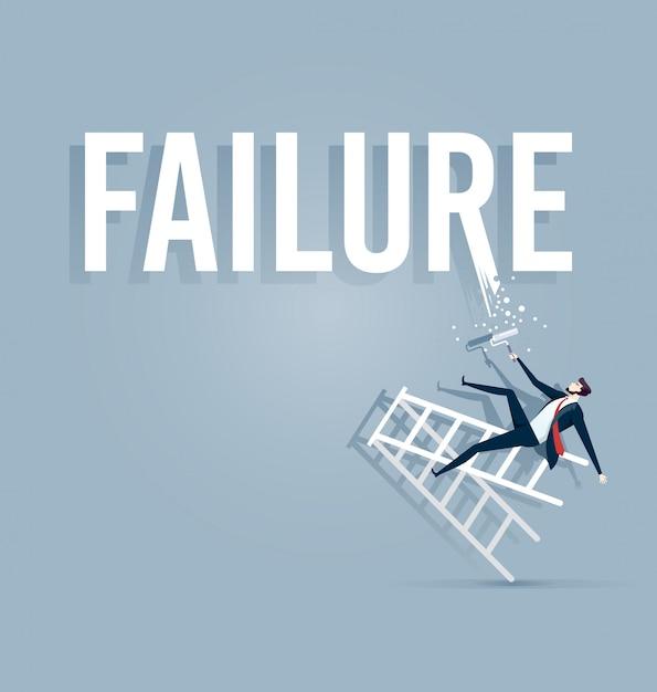 Empresário, pintando o fracasso da palavra Vetor Premium